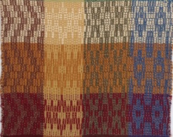 Same designs depicted in each row, with the color of weft changed and size of weft yarn.