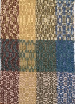 Rows 1 and 2 correspond to treadlings 2 and 3 on pages 132 and 133 of The Handweaver's Pattern Directory. The 3rd row is the 1st treadling on pages 134 and 135. Designs in left column (brown warp) are not depicted in book.