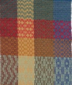Crackle 4 harness weave. Row 1-3 correspond to the treadlings on page 131.The left column (Brown warp) are the designs pictured on this page 131. The 4th row ,(mint color weft) is the first treadling on pg 132-133. For this row the brown warp column is not pictured.