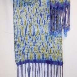"""Spring Views"" Handwoven Shibori scarf reminds me of the fields of Bluebonnets in the springtime"