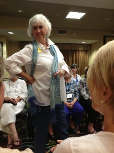 """CHT Fashion Show. My """"Spring Views"""" scarf is being modeled."""
