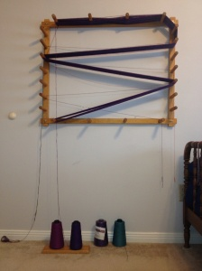 Warping Board with warp for towels