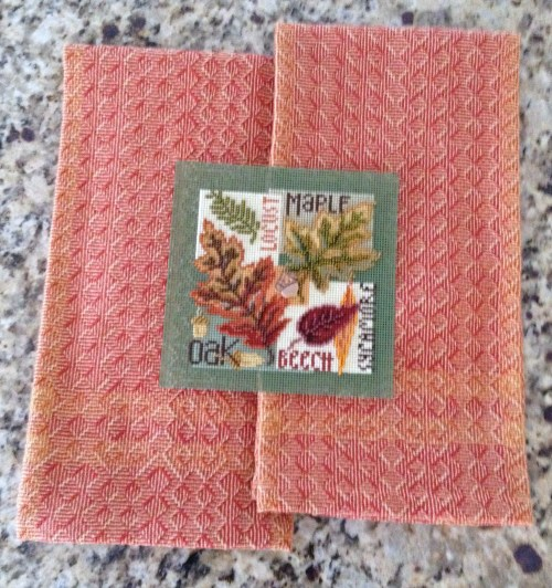 Pumpkin Shadow weave towels with beaded counted cross stitch (Fall Leaves designed by Mill Hill)