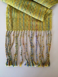 3 beads on each twisted fringe group.