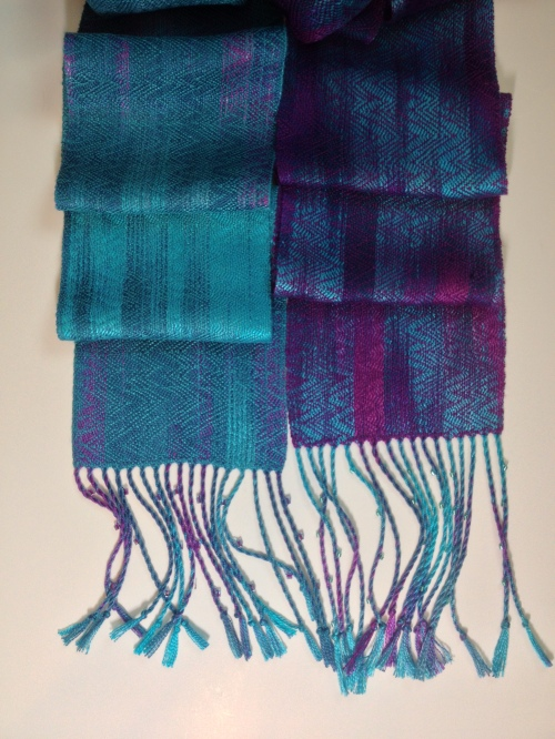 2 Scarves one hand painted warp