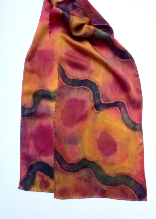 Hand painted natural dyes with added fabric paintstik highlights