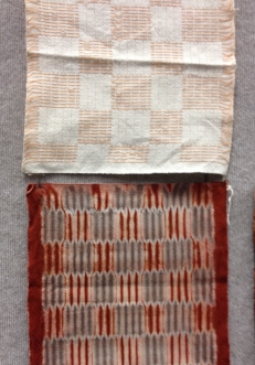 Examples of Cloth as woven and dyed with natural dyes by Catharine Ellis